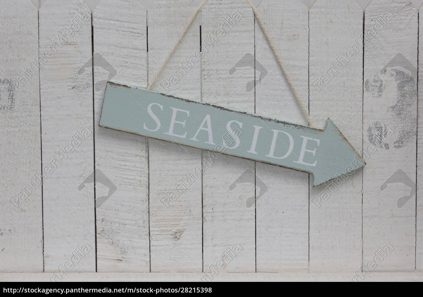 hanging, seaside, sign, across, white, wood - 28215398