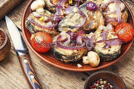 mackerel, fried, in, tomatoes - 28215185