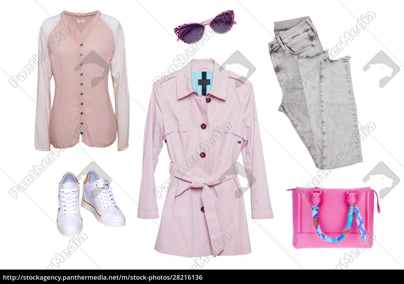collage, woman, clothes., set, of, stylish - 28216136