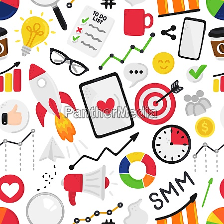 vector, seamless, pattern, with, smm, elements. - 28216337