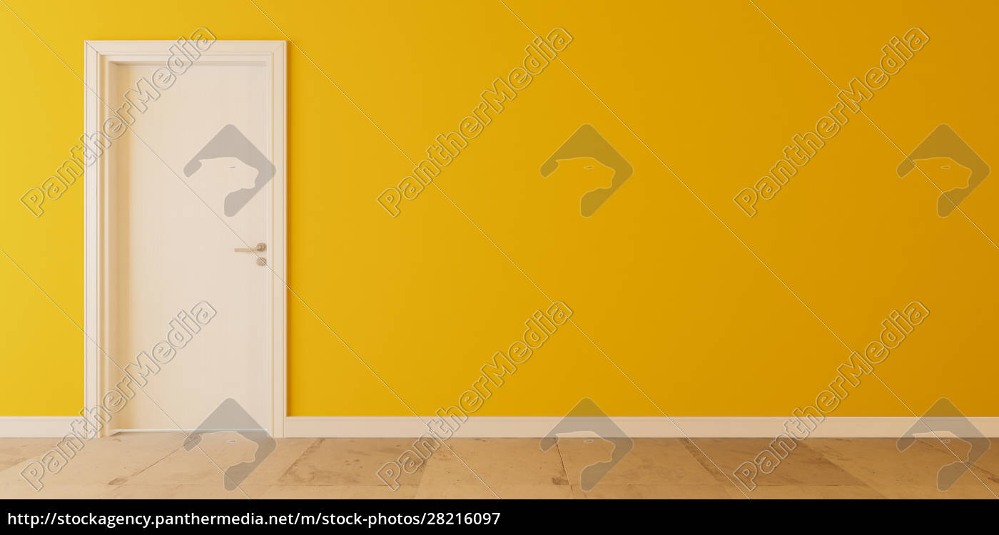 white, wooden, door, with, yellow, wall - 28216097
