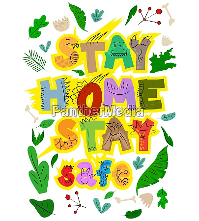 cartoon stay home stay safe sign