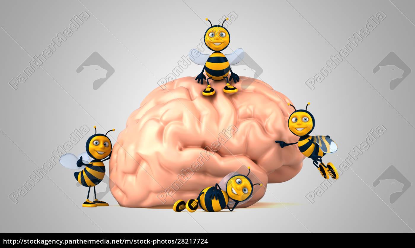 3d, illustration, of, fun, bees, next - 28217724