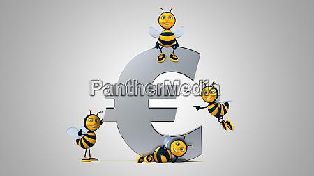 3d, illustration, of, fun, bees, next - 28217726