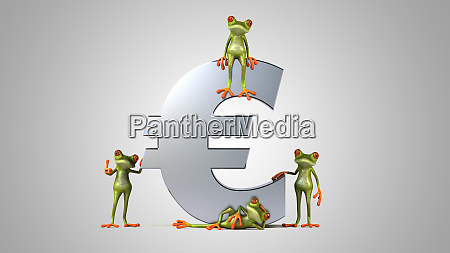 3d, illustration, of, green, frogs, next - 28217448