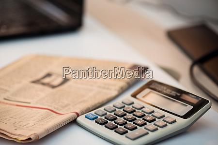 calculator, and, finance, newspaper., coronavirus, concept. - 28217912