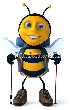 fun, backpacker, bee, -, 3d, illustration - 28217538