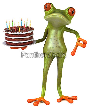 fun, frog, with, a, birthday, cake - 28217581
