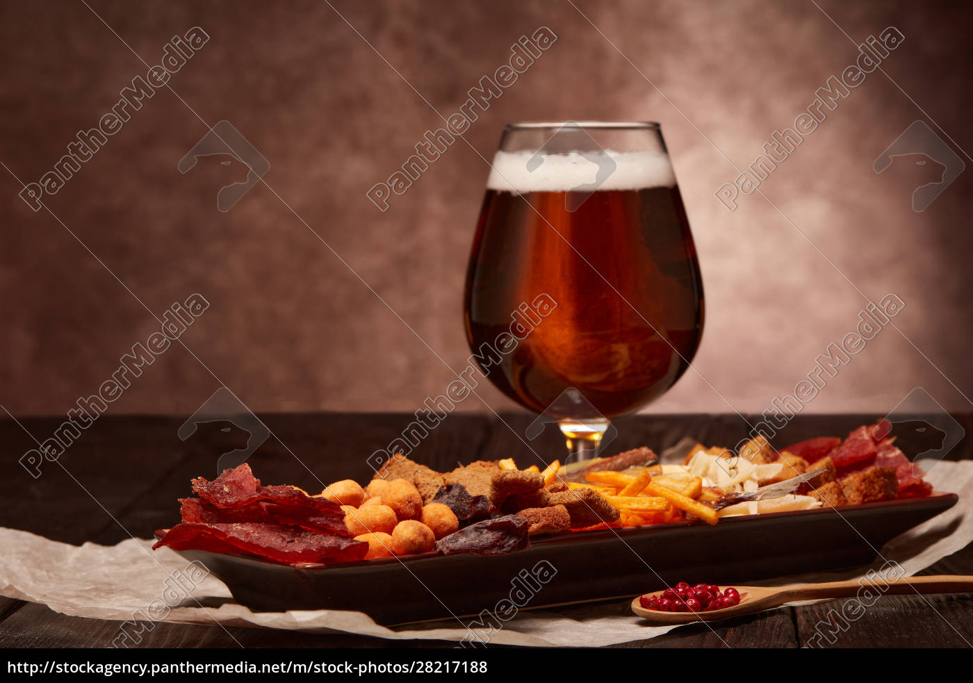 glass, with, beer, and, snacks - 28217188