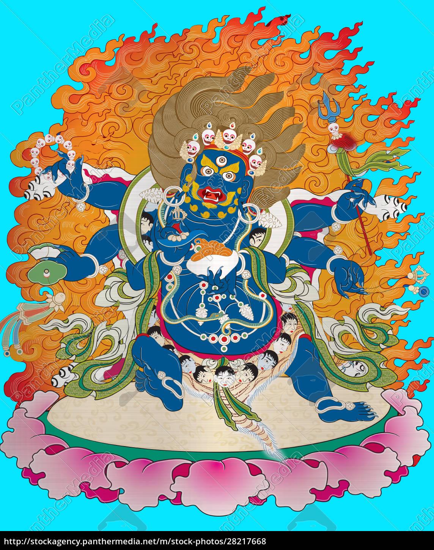 thangka, tibet, antique, blue, metallic, illustration - 28217668