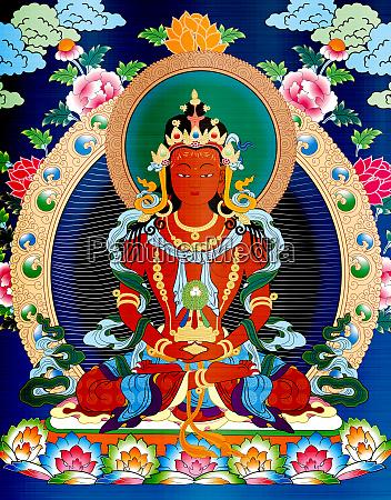 thangka, tibet, antique, red, metallic, illustration - 28217671