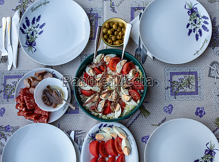 prepared for supper table on the