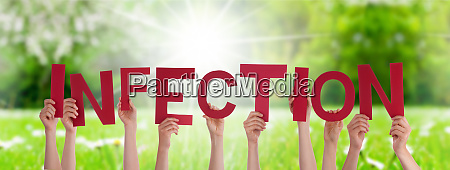 people hands holding word infection grass