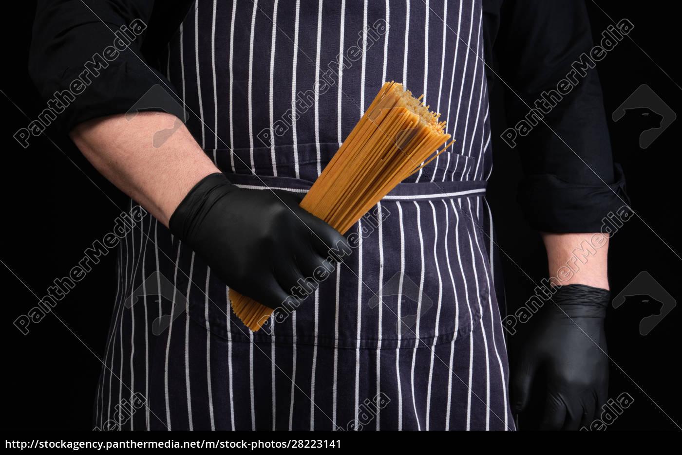 chef, in, black, latex, gloves, , striped - 28223141