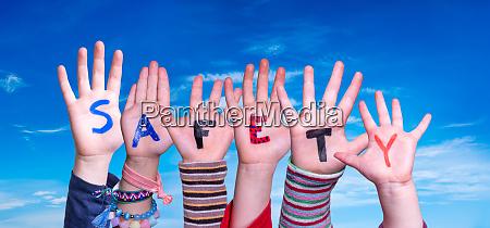 children, hands, building, word, safety, , blue - 28223117