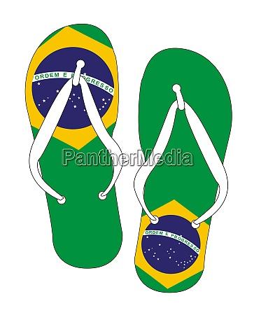 brazilian flag flip flop shoes