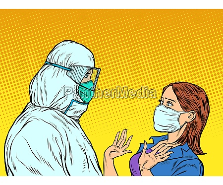 doctor in protective suit and emotional