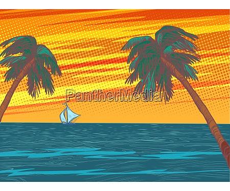sunset beach resort palm trees sea