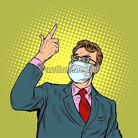 businessman in a medical mask the