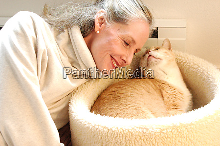 female beauty and her cat