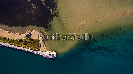 aerial view on sandbar at neretva
