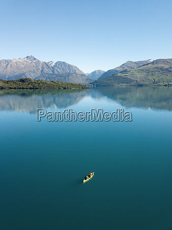 aerial view of a canoe on