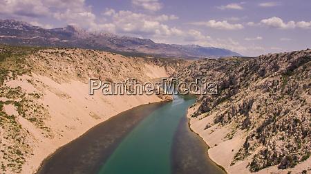 aerial view of zrmanja river canyon