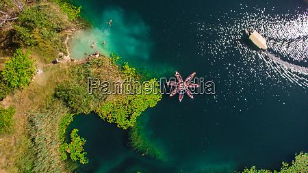 aerial view of kayaks on bacina