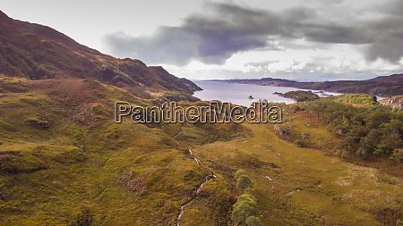 aerial view of landscape near arisaig