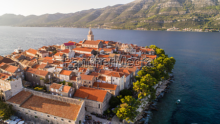 aerial view of town korcula on