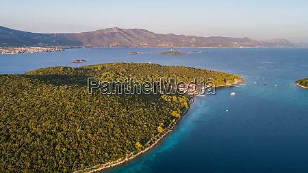 aerial view of badija island near