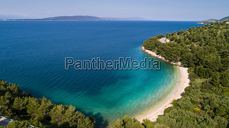 aerial view of secluded beach near