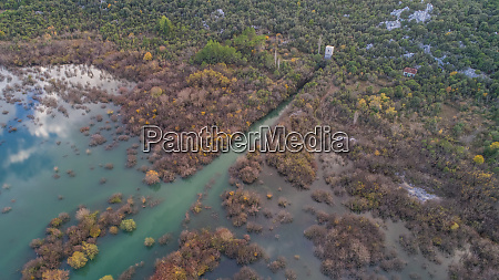 aerial view of flooded valley near