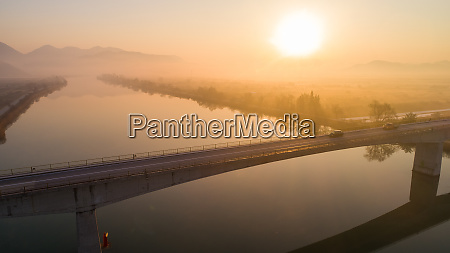 aerial view of foggy morning in