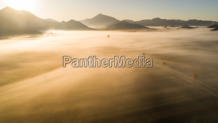 aerial view of misty morning in
