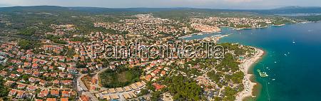panoramic aerial view of krk croatia