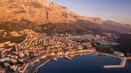 aerial view of the sunset at