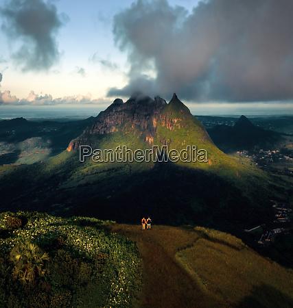 aerial view of moka mountain range