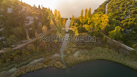 aerial view of bacina lakes near