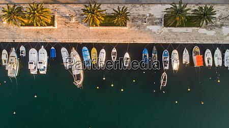 aerial view of boats in ploce