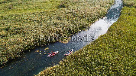 aerial view of kayakers on norin