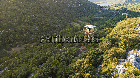aerial view of military watchtower near
