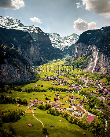 aerial view of a valley and