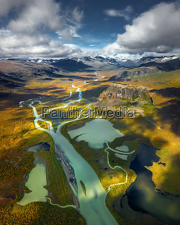 aerial view of river delta in