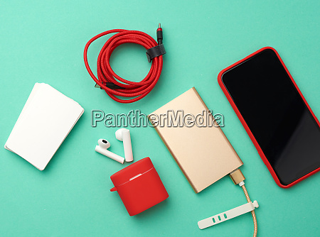 golden power bank with cable red