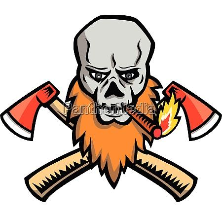 bearded skull smoking crossed ax mascot