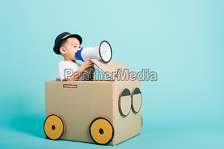 children boy smile in driving play