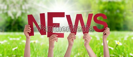 people hands holding word news grass