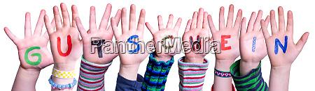 children hands building word gutschein means