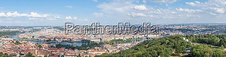 panorama of prague with the vltava